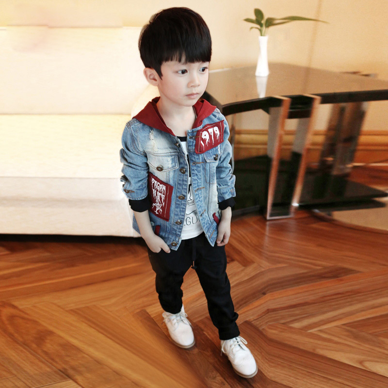 Male child spring and autumn jacket outerwear childrens clothing 2015 spring casual top child hooded denim coats Free shipping <br><br>Aliexpress