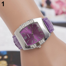 New hotWomen s Rhinestone Barrel Shape Case Faux Leather Band Analog Quartz Wrist Watch 4JUN