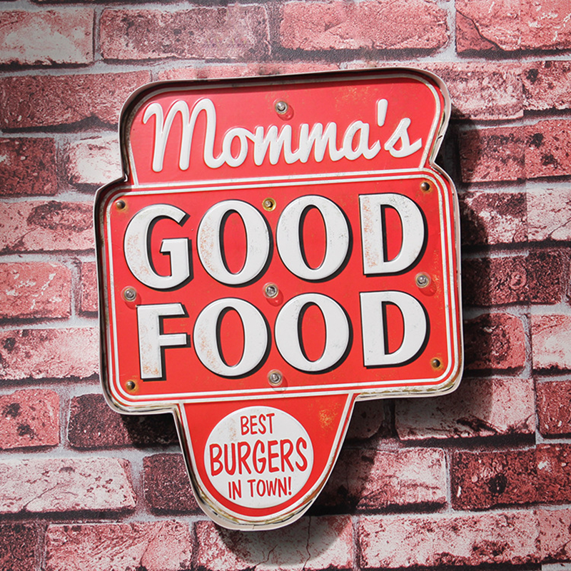 Retro Momma's Good Food LED metal Sign Burgers pizza Hamburger Advertising Signboard for Restaurant Food Shop Hanging Neon signs(China (Mainland))