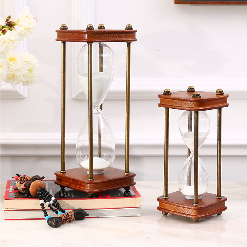 American country retro wooden hourglass European luxury bookcase desk study soft decoration timer(China (Mainland))