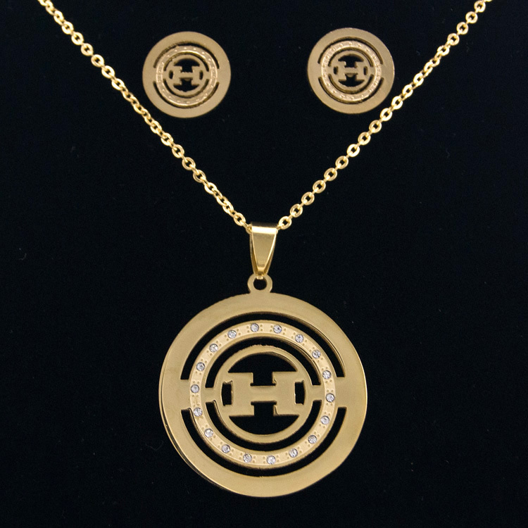 2015 fashion luxury brand name jewellry sets for women 18K Gold Plated Round stainless steel Pendant Necklace gift with chain(China (Mainland))