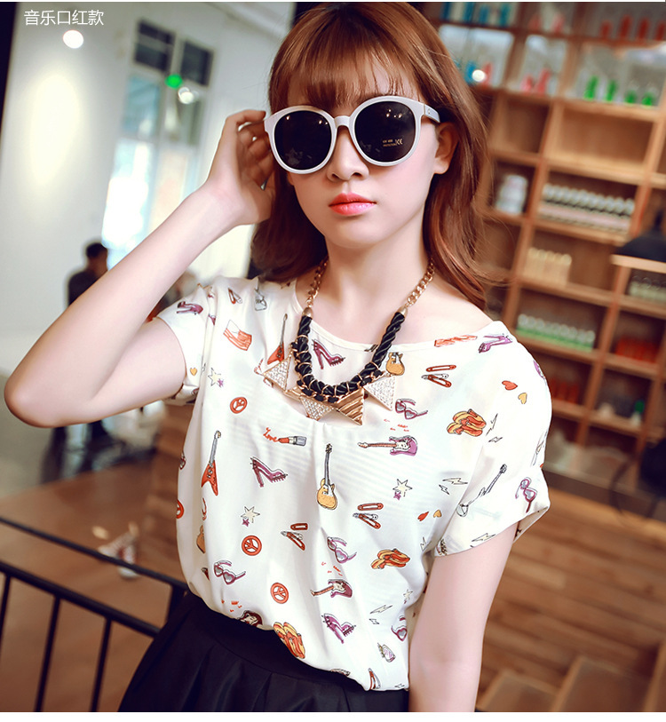 2015 new summer wear women's clothing design printed fashion sexy loose snow spins unlined upper garment short-sleeved shirt(China (Mainland))