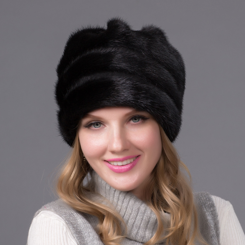 Фотография Real mink fur hat for women winter full fur hat with flower top 2016 new arrival good quality multicolor female luxury mink cap