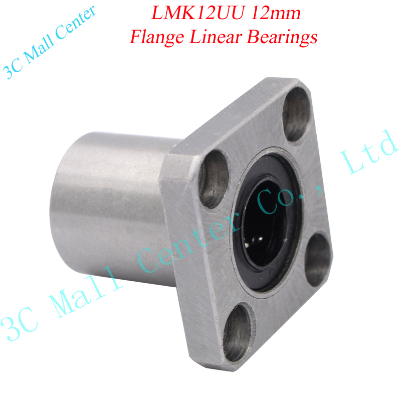 2pc LMK12UU 12mm CNC Flange Linear Bearings For 3D printer Free shipping