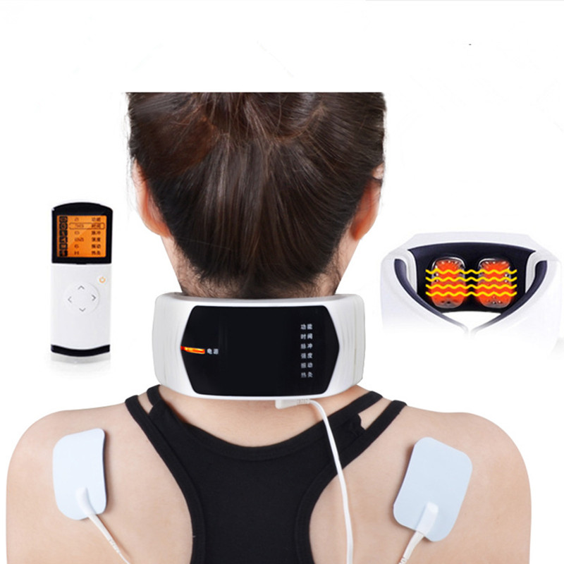 Massage Relaxation Electric Impluse Vibration Massaging Far Infrared Heating Magnetic Neck Massager Therapy Device Health Care(China (Mainland))