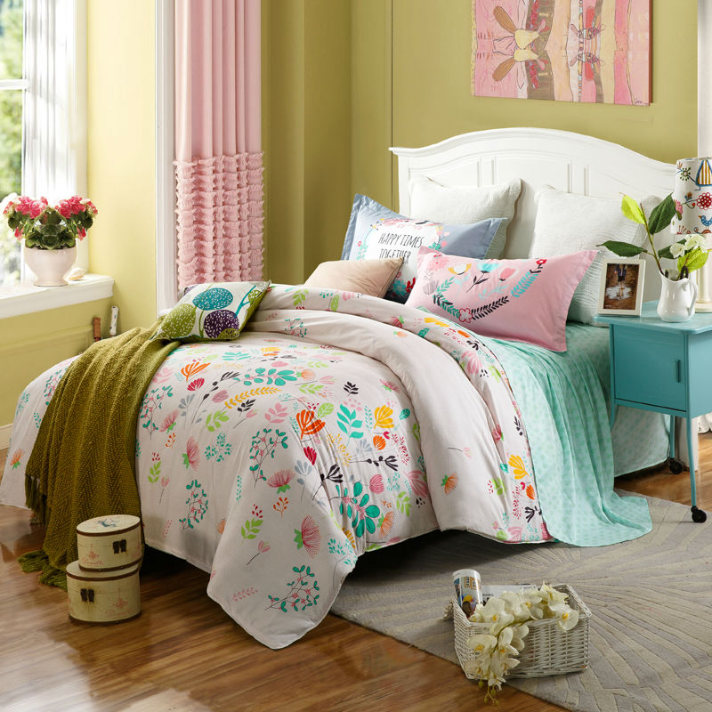 floral style colorful flowers white linens bedding sets cotton Twin/Single/Double/Queen Size 4pcs duvet cover set sheets sets(China (Mainland))