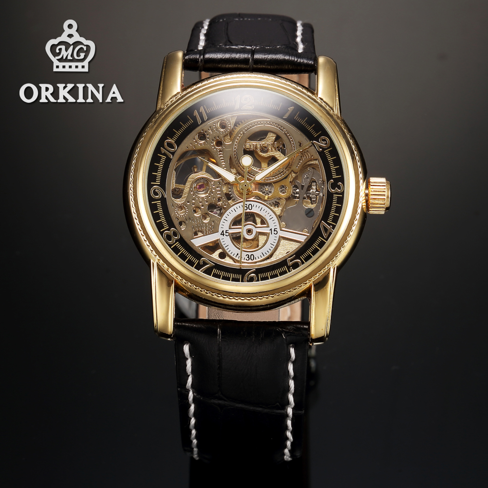 Orkina Men Herren Gold Black Skeleton Business Automatic Mechanical Watch Relojes Mujer 2016 Clock Mens Cool Mannen With Box(China (Mainland))