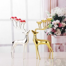 Luxurious Spotted Deer Candle Holders Stainless Steel Candle Holders Candlestick Wedding Candelabra Decoration With Free Candles(China (Mainland))