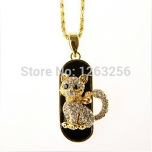 jewelry mini cat usb flash drive necklace 8gb 16gb 32gb pen drive pendrive crystal gift hard disk gadget usb memeory