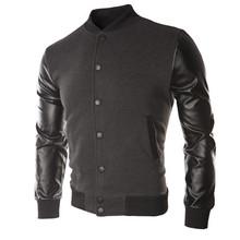 New Men 2015 Sweater PU Leather Collar Sweater Personalized Baseball Stitching Clothes Man Jacket Plus Size M-4XL Wine Red Navy(China (Mainland))