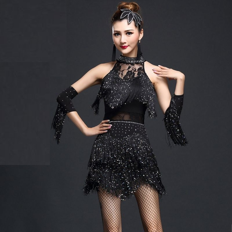 2017 Fashion Sexy Latin Dance Dress Slim Tasseled Sequined Salsa Dancing Dresses Party Dancewear Costumes Women Fashion M-XL