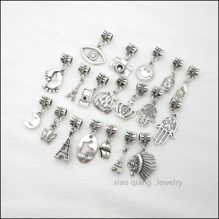 Free shipping 19pcs Mix Tibetan silver Bead Charm big hole pendant fit Pandora charm bracelet DIY