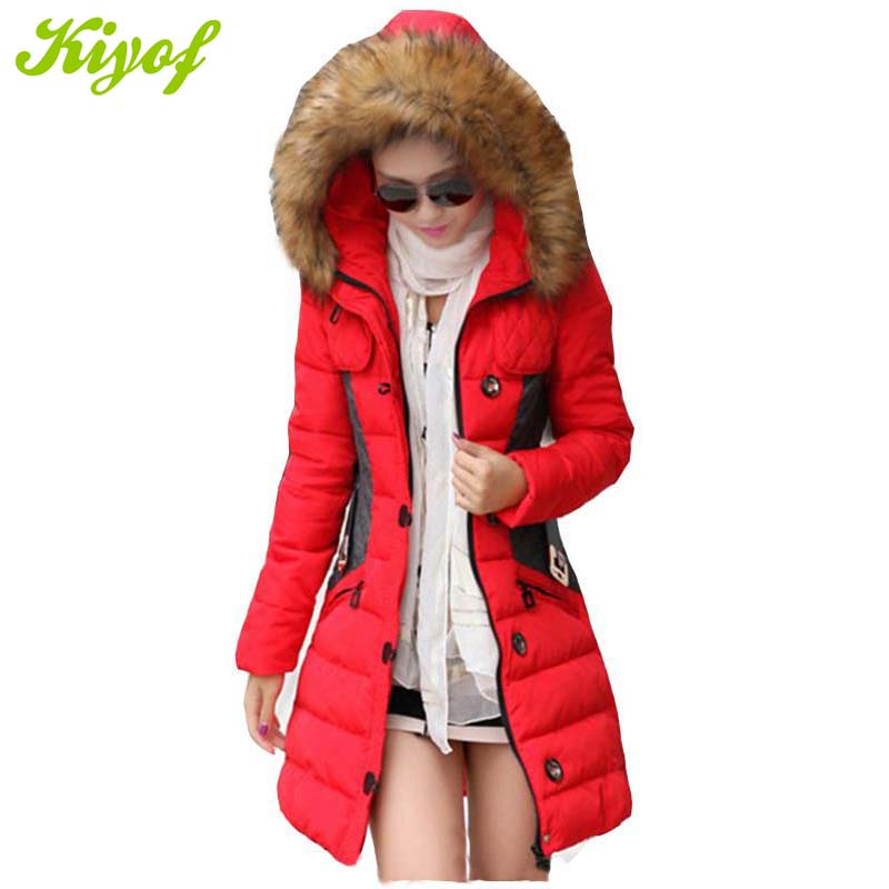 1PC 2015 Winter Jacket Women Parka Fur Collar Thickening Cotton Padded Coat Manteau Femme BB0041
