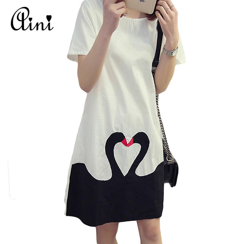 2016 New Summer Korean Style Women Plus Size Dress Vestidos Loose Kiss Swan Printed Short Sleeve O-neck Dress White(China (Mainland))