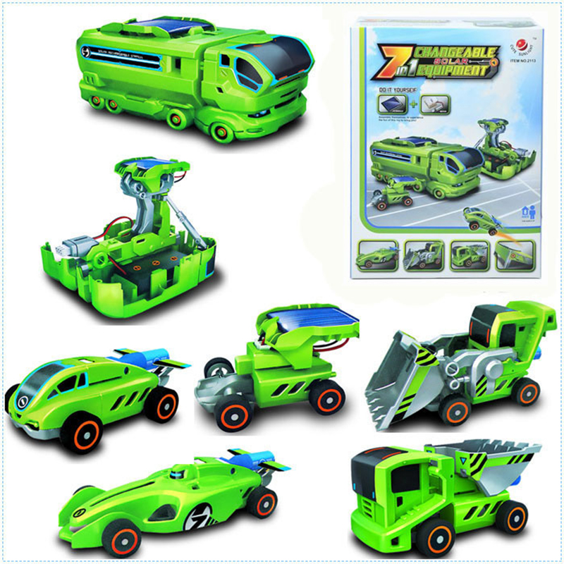 7-in-13 DIY solar robot toys for children safe green energy drive solar changing equipment assembly kit gift ideas(China (Mainland))