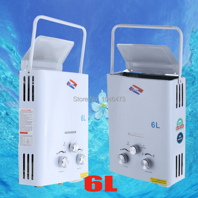 RSQ-B6Y 6LITER 1.6GPM Mini Portable Propane Gas Bottle LPG Instant Tankless Water Heater Boiler with Shower Head CE(China (Mainland))
