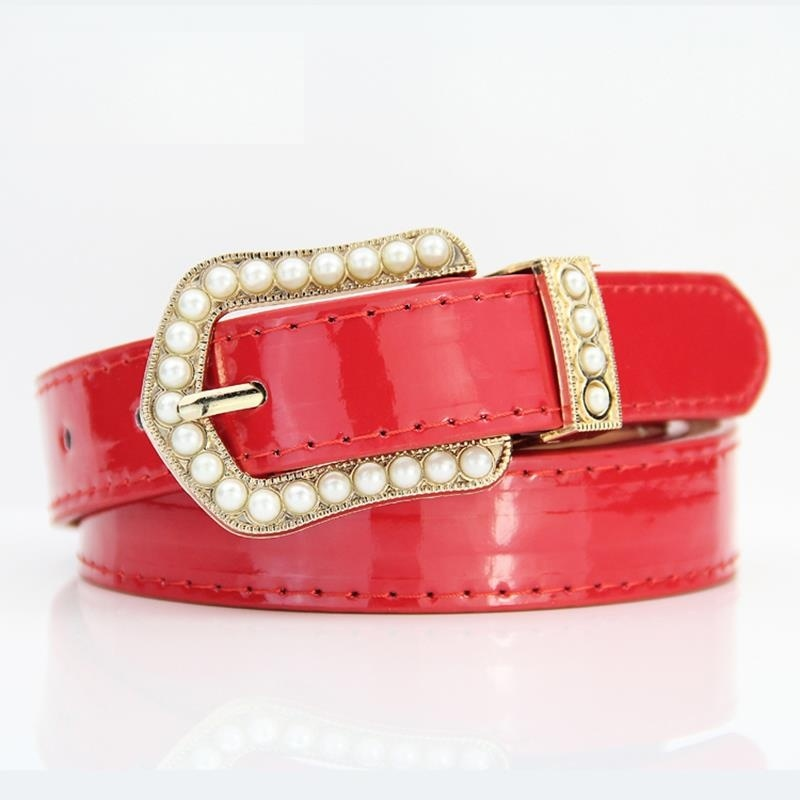 cheap red patent belt