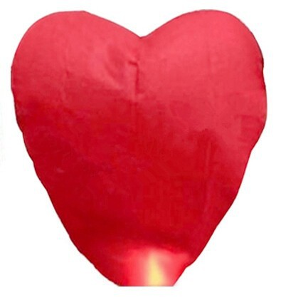 Red Heart Sky Lanterns Chinese Paper Sky lantern Candle Fire Balloons for Wedding / Anniversary / Party / Valentine(China (Mainland))