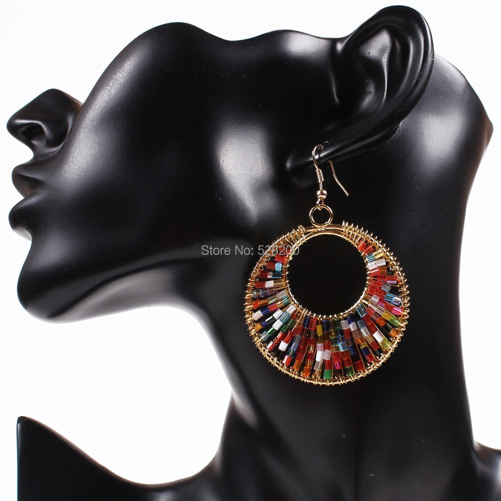 European and American fashion Big earrings Retro Cleopatra Color hand-made jewelry Color bead eardrop for Woman wholesale(China (Mainland))