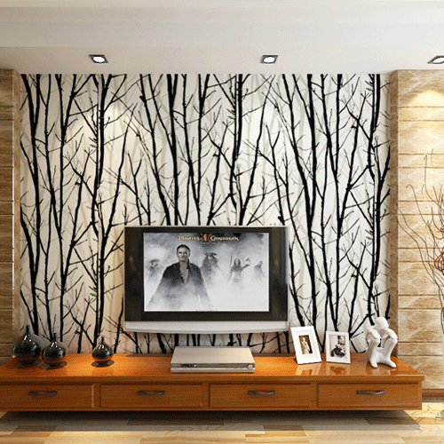 Pvc 3d wall murals wallpaper woods tree pattern striped for Wallpaper designs for living room wall