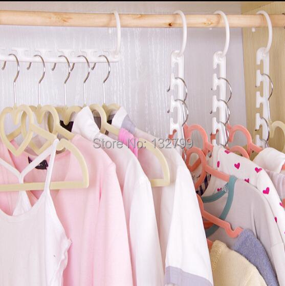 8pcs/set Space Saver Wonder Magic Clothes Hangers Closet Organizer Hooks Windproof Travel Racks ABS White()