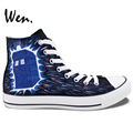Wen Hand Pained Shoes Casual Shoes Custom Design Doctor Who Blue Police Box High Top Canvas