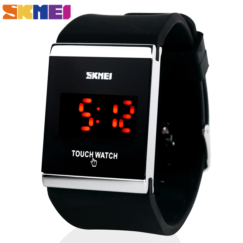 Skmei Trendy Colorful LED Touch Digital Watch,Men Watch,Women Watch,Casual Sport,Rectangle Shape Dial Rubber Band Watch(China (Mainland))
