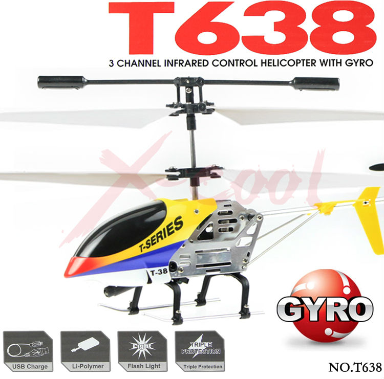 Free shipping MJX Heli T38 T638 3CH Metal Frame Mini RC Helicopter with Gyro without original box(China (Mainland))