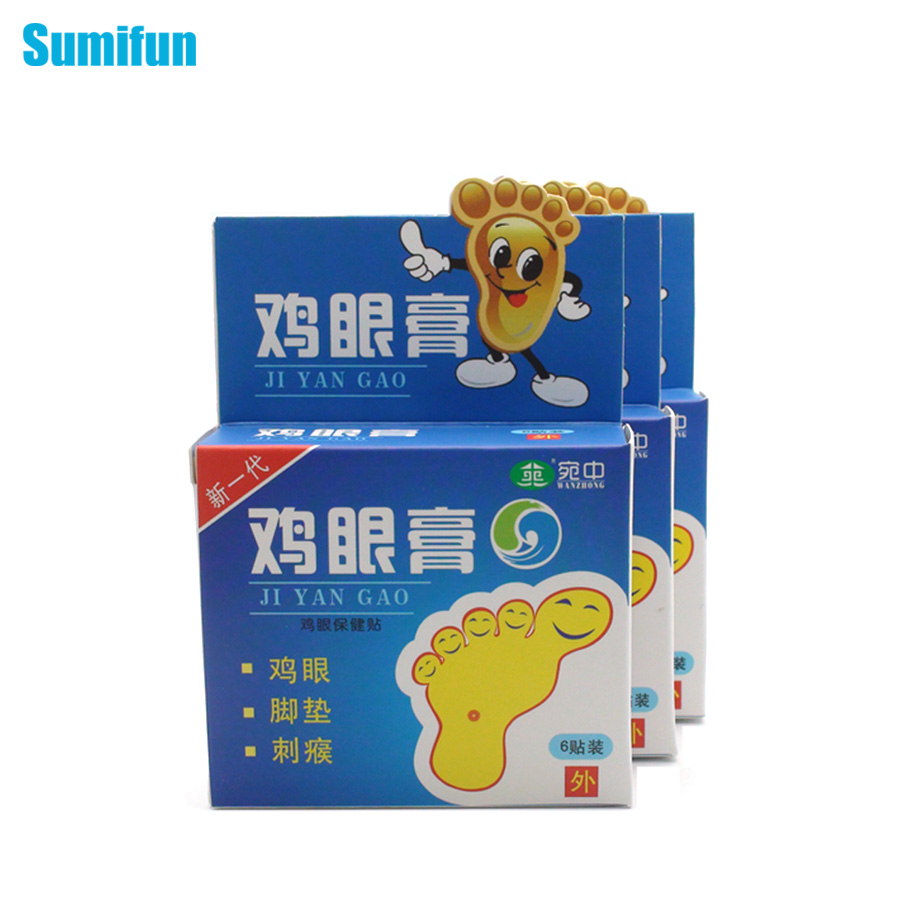 18 Pcs/3 Boxes Sumifun Chinese Foot Care Products Remove Toxins from Body Herbal Adhesive Feet Corn Toes Plaster Massage C347(China (Mainland))