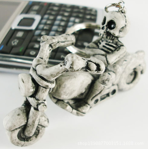 Creative Rubber Skeleten Key Chain Funny Skull Key Ring High-grade small Gift Key Holder Skeleton Ride a Motorcycle Key Finder(China (Mainland))