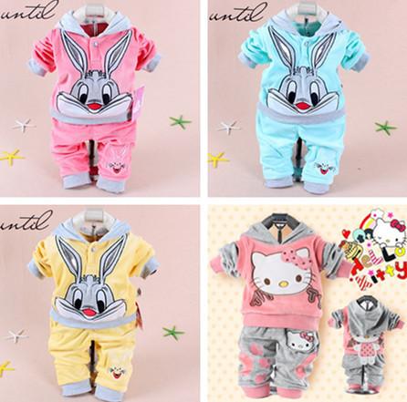 manufacturer Clothing Sets Hello kitt 2014 Spring Baby Set Cartoon Rabbit Velvet Twinset Long Sleeve Hoodie And Pant Children Cl(China (Mainland))