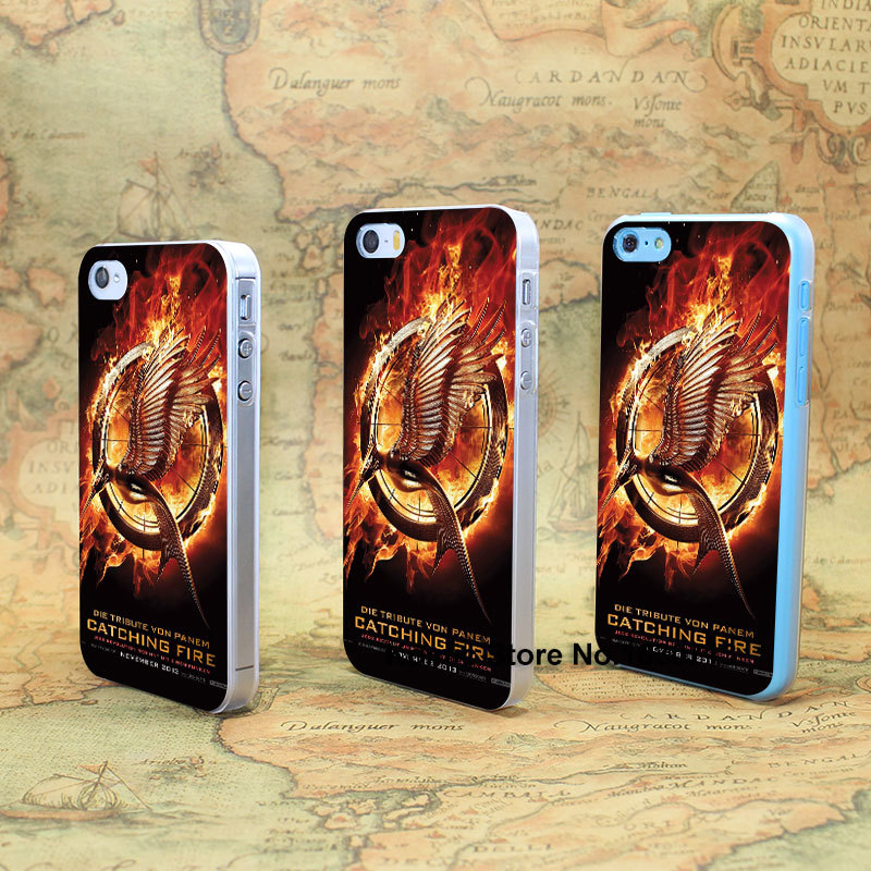ETFC-187 hunger games catching fire Design hard transparent clear Skin Cover Case for iPhone 4 4s 4g 5 5s 5g 5c(China (Mainland))
