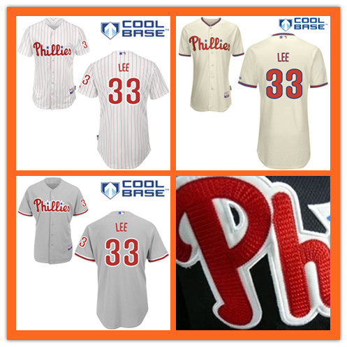 Kids #33 Cliff Lee Jerseys Philadelphia Phillies Youth Embroidery logo Cool Base Authentic Baseball Jersey S to XL(China (Mainland))