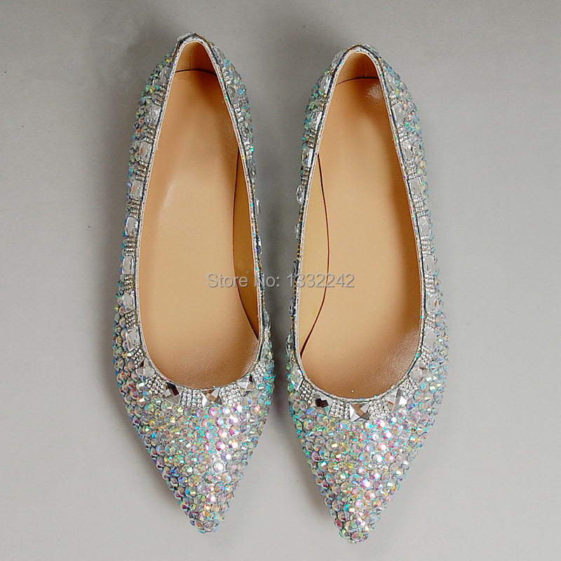 pointed toe genuine leather silver shoes