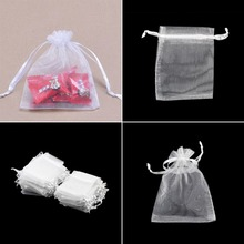 Free Shipping, White Colors Jewelry Packing Drawable Organza Bags 7x9cm,Wedding Gift Bags & Pouches,100pcs/lot(China (Mainland))