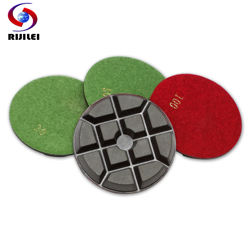 (4FP1-6) 4 pieces/lot inch 100mm diamond polishing pad Thickness 10mm dry concrete floor pads Buffing Cleaning Pad - RIJILEI GZ Store store