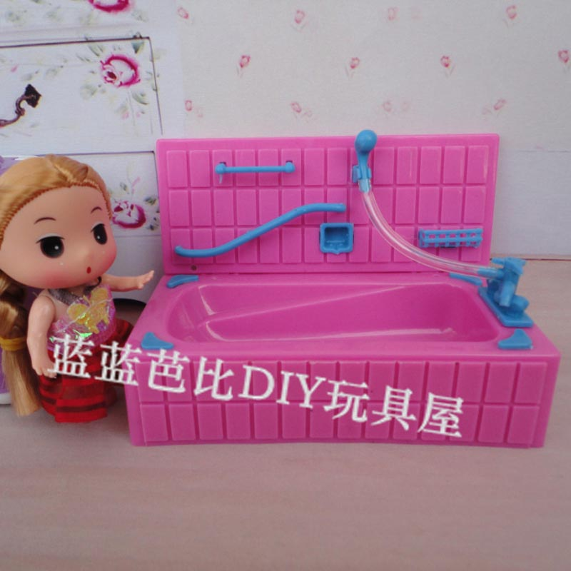 Best selling dolls housing furniture Dream bath large bathtub (color mosaic storage) for Barbie sister Kelly Dolls(China (Mainland))