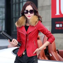 Fur collar 2015 spring women leather clothing outerwear jackets and coats ladies red leather coat motorcycle leather(China (Mainland))