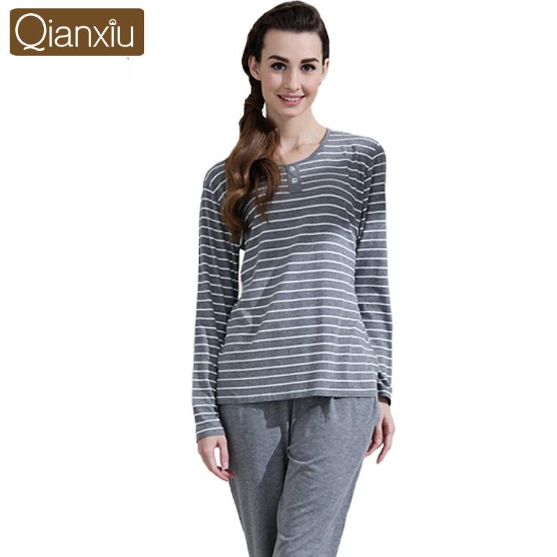 Qianxiu Brand Pajamas Couples Sleepwear O-neck Casual Stripe Women Pajama Set Plus Size Home Dress Free Shipping(China (Mainland))