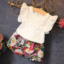 Buy Girls Summer Clothes Set Children Sleeveless Solid T-shirt + Short Print Pants 2016 Girl Clothing Sets Kids CF104 H8 for $4.73 in AliExpress store