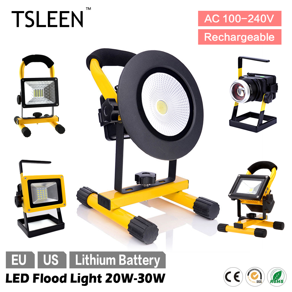 TSLEEN 5 Models Waterproof LED Flood Light Portable Spotlight 30W/20W Zoom Dimmer Lamp EU US Plug Outdoor Camping Night Lamp(China (Mainland))