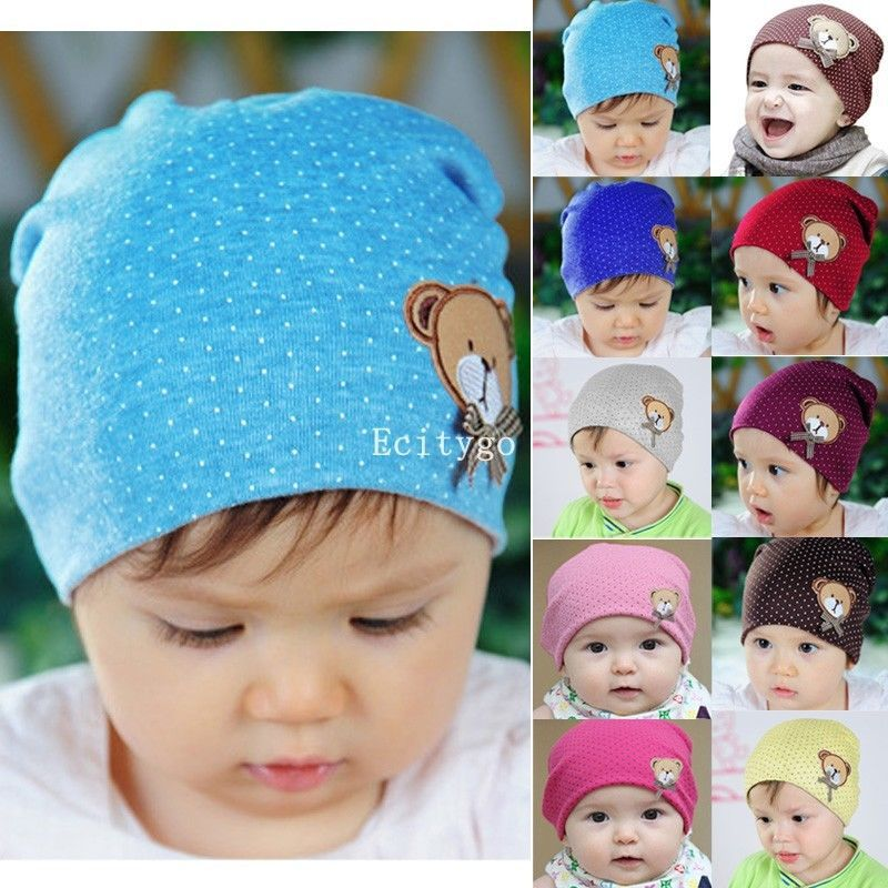 Hot Newborn Infant Toddler Girl Boy Baby Cap Cute Bear Polka Dot Beanie Cotton Hat Cap10 Color(China (Mainland))