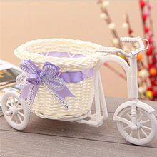 High-grade modern style fashion rattan decorative vase plastic tricycle bike flower home furnishings accessories free shipping(China (Mainland))
