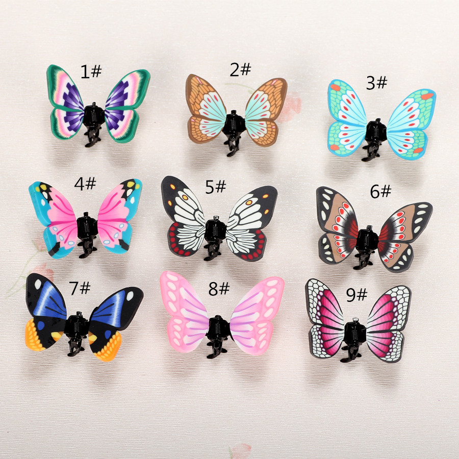 20pc/lot polymer clay new fashion design butterfly hair clip caught hair pins handmade hair decoration colorful tiara(China (Mainland))