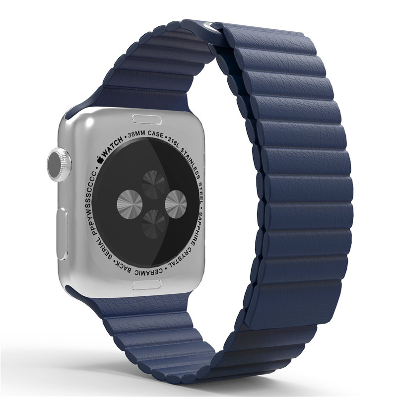 For Apple Watch Band 42mm Correa Leather Loop Band Premium Soft Adjustable Magnetic Closure for iWatch Strap Midnight Blue(China (Mainland))
