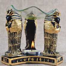2016 incense burner egypt sphinx glass oil tray resin base oil burners essential gift home decoration candlestick free shipping(China (Mainland))