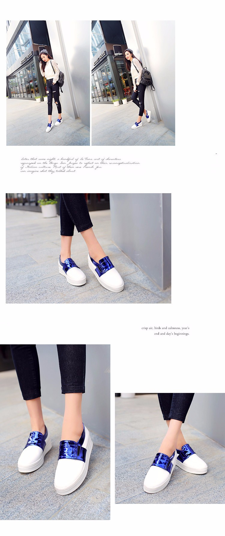 2016 New Spring Fall Fashion Flat Women Loafers Shoes Platform A Pedal Lazy Female Single Shoes Blue Gold Plus Size 40-43 Z3.5