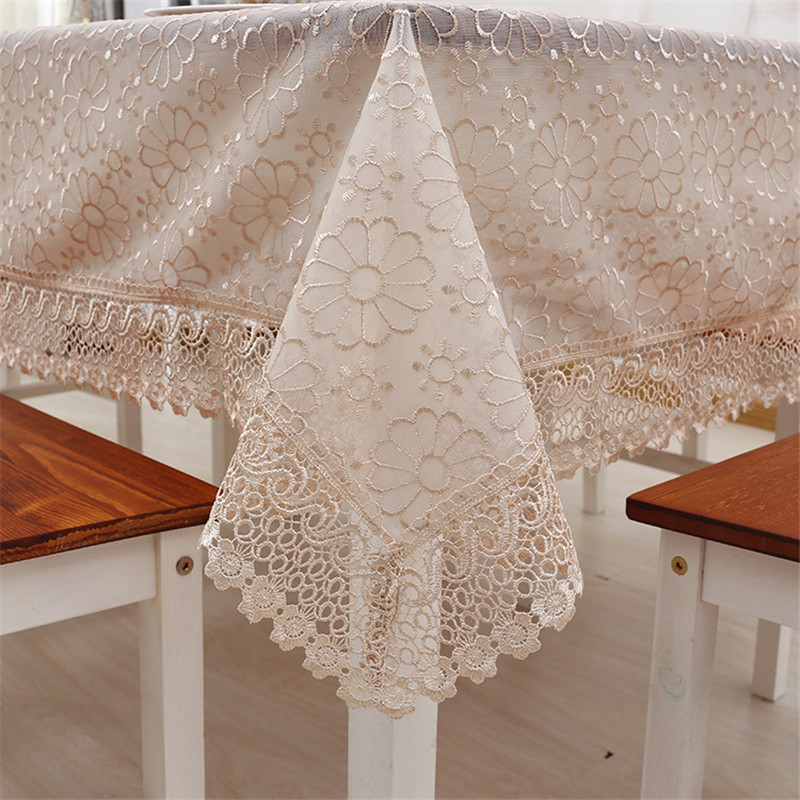 Double Layer Organdy Cover for the Table European Pastoral Embroidery Tablecloth Luxury Fabric Table Cover Toalha de Mesa Branca(China (Mainland))
