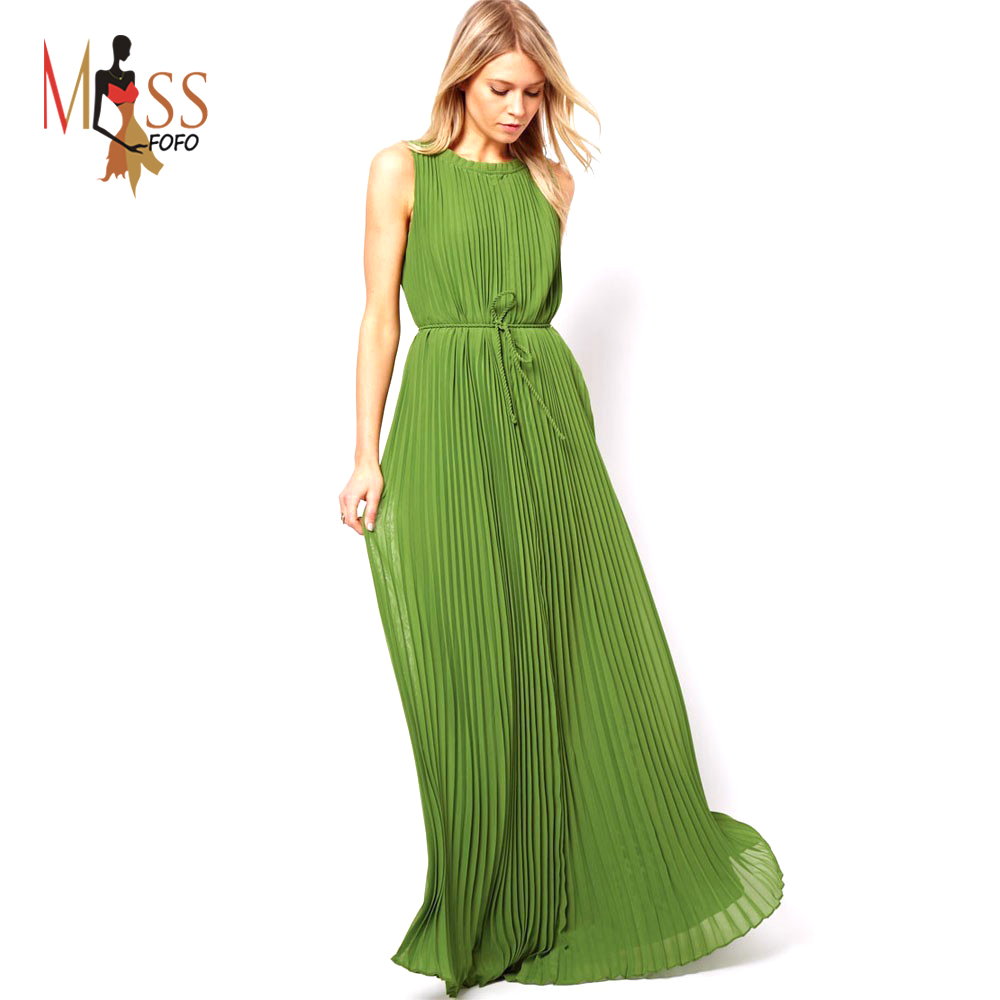 Simple Star Models Dark Green Full Legth Pleated Women Dress  Lalalilocom
