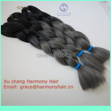 FREE SHIPPING 5packs/lot grey ombre kanekalon braiding hair extensions black+dark grey color synthetic jumbo braids in stock
